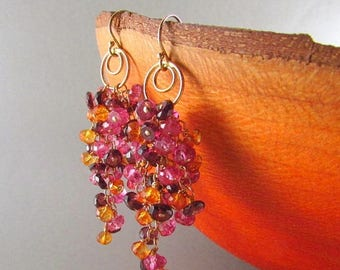 25 OFF Pink Topaz With Rhodolite Garnet And Orange Quartz Gold Filled Earrings, Waterfall Design