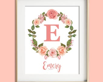 Girl nursery wall decor, personalize baby gift, child name print, blush pink nursery, girl room decor, floral monogram baby girl nursery art