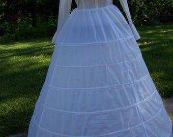 "Petticoat 6 Bone Hoop, WHITE Nylon, ajustable 110"" to 147"" circle x 44"" - 47"" long Steel Boning Draw String waist 12"" to 50"""