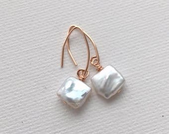 White Cultured Freshwater Pearl Earrings with 14k Rose Gold Fill