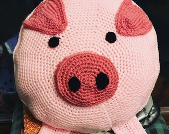Percy the pig. Crochet pillow