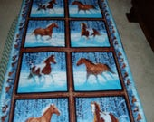 Beautiful Horses Running in Snow Throw/Quilt/Blanket