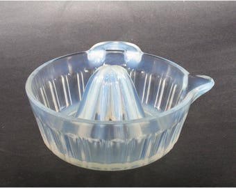 Fry Opalescent Glass Orange Reamer with Deep Paneled Sides 1930's Juicer
