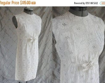 ON SALE Wedding Dress // 50s Dress // 60s Dress // Vintage 1950s 1960s White Tea Length Wedding Dress with Silver Embroidery by Helen Whitin