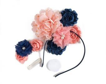 Quinn : Navy Blue + Peach  DIY DELUXE Headband + Hair Clip Kit     Chiffon Flower FOE Fold Over Elastic   Princess Parties & Birthdays