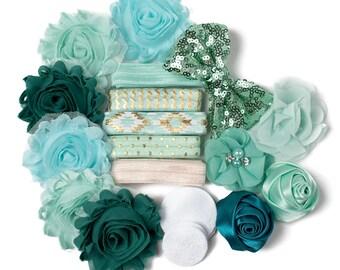Mint Green With Envy DIY Headband Kit   10 Headbands   Mint Green Teal Craft Flowers FOE Fold Over Elastic   Princess Parties + Baby Showers