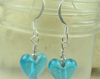 SALE, 50%, Light Aqua Transparent Heart Glass earring, valentines day, holidays, birthdays, ocean, march birthdays,