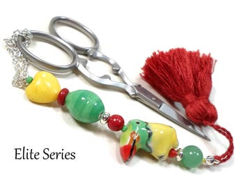 Yellow Parrot Green Red Handmade Scissor Fob Beaded Scissor Minder OOAK Key Fob Sewing Accessory Quilting Needlepoint Cross Stitch