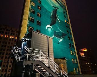 Whale Mural Detroit at Night Vertical Fine Art Photograph on Metallic Paper