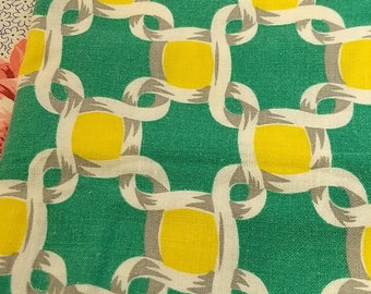 Dots & Knots Weave Vintage Feedsack Yellow and Green Cotton Fabric #C81