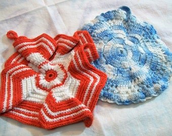 Vintage Pot Holders, Red and White, Colorful Pot holder, Blue and White,  vintage kitchen, handmade vintage, Crocheted pot holders