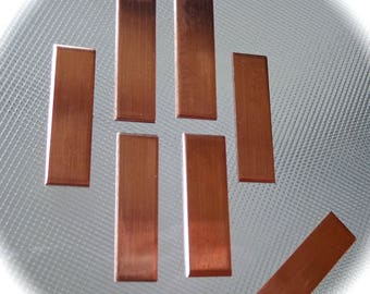 """15 - 1/2 x 2"""" Polished Copper or Jeweler's BRASS - 18 Gauge  with Protective PVC on Both Sides"""