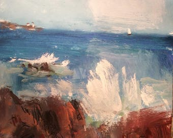 Maine seascape painting with lighthouse along the New England coastline with sailboat