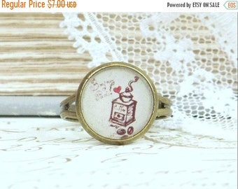 Coffee Ring Paris Jewelry French Ring Coffee Jewelry Paris Ring Dainty Ring Coffee Lover Gift