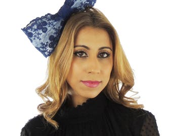 Mini Navy Bow Fascinator Ascot Kentucky Derby Proms **SAMPLE SALE**