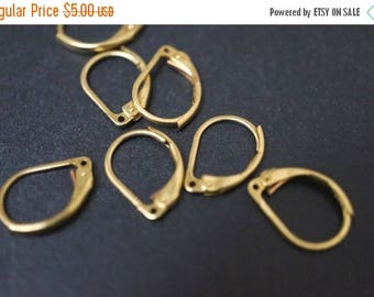 SUMMER SALE Raw Brass French Lever Back Earring Hooks - 50pcs