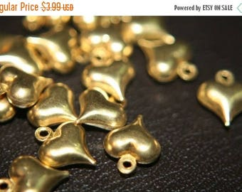 SUMMER CLEARANCE CLOSEOUT Sale- Raw Brass Heart Charms 11x9mm - 30 pcs