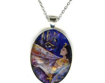 Goddess Isis necklace - statement necklace - spiritual jewelry - gifts for her - Egyptian jewelry - egyptian goddess - girlfriend gift
