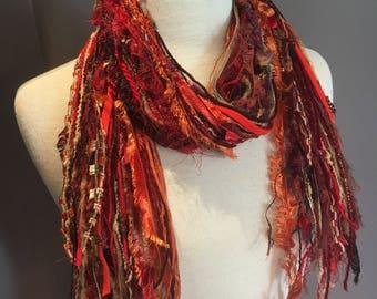 Fringie in Warm Shanghai, Art Scarf, Fringe Scarf, hand tied scarf, ribbon scarves, bohemian scarf, orange red scarf, ribbon scarf