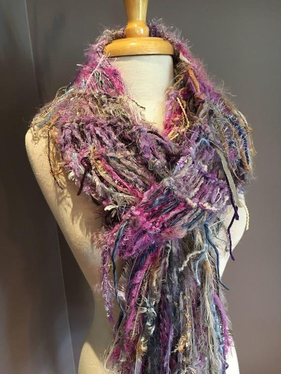 Hand knit Fringed Shawl, Ribbon scarf,  'Lilac Field', Fringed Knit Scarf for women, long scarf, boho scarf, plush scarf, lavendar grey