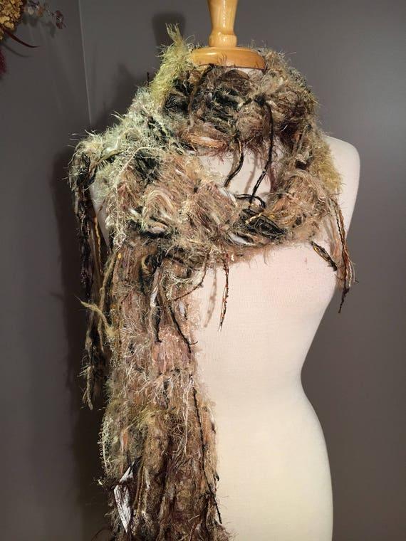 Knit Art Scarf, Dumpster Diva Series, 'Black n Tan, Funky fringed boho scarf, shoulder wrap, beige black scarves, hand knit scarves, tribal