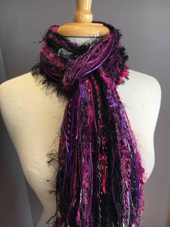 Fringie in Girl Power, Fringe Scarf, Handmade hand-tied art fringe scarf in ink fuscia black purple, bohemian, long scarf, womens walk