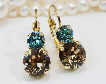 Aqua Brown Crystal earrings Teal Blue Aqua Brown Drop Earrings 6mm&8mm Swarovski crystals leverback earrings, Gold finish, ARCTIC DESERT,GE3