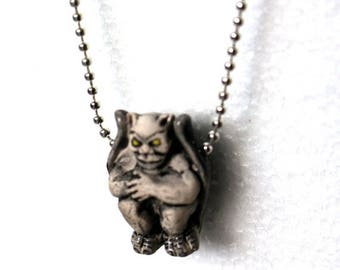 Save25% Gargoyle necklace -Hand painted ceramic-Ball chain necklace-Weird Christmas gift-Free gift box