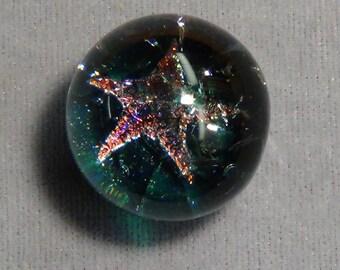 """Art Glass Marble, boro star, star fish  dichroic 15/16"""" 21"""