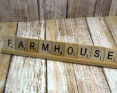 Scrabble Tile Farmhouse Rack Signage Personal Business Display Booth Trade Show Market Word Accent Holder Game Decor Plaque