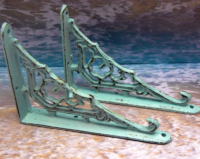 Shelf Bracket Cast Iron Ornate Brace Shabby Chic Beach Blue Pair for Home Improvement DIY