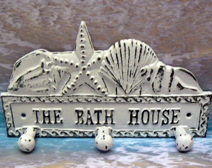The Bath House Cast Iron Wall Hook Starfish Sea Shell Shabby Chic Cottage Chic White Beach House Home Decor