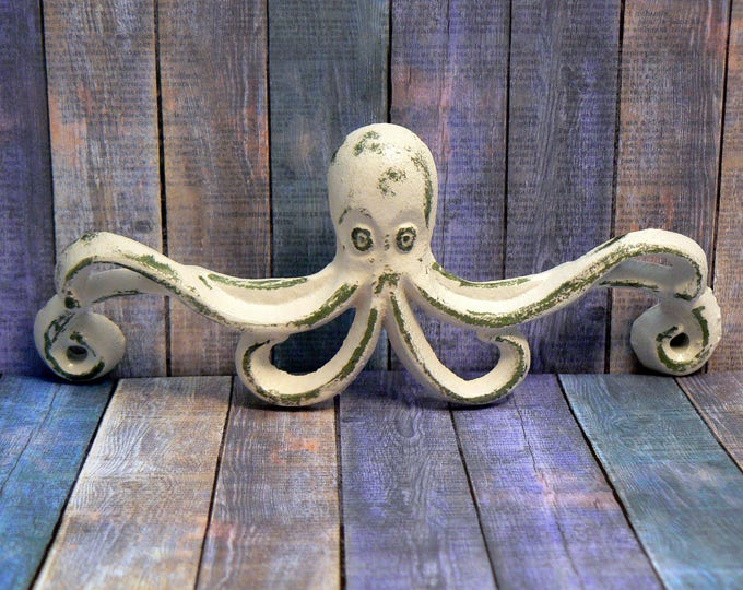 Octopus Cast Iron Pull Handle Knob Cottage Chic Beach White Nautical Coastal Decor
