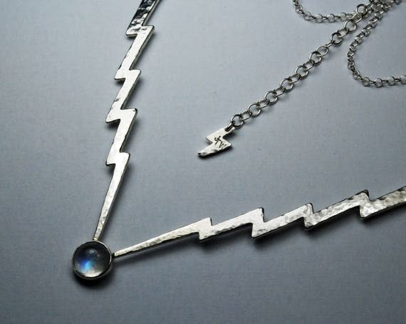 Sterling Silver & Rainbow Moonstone Lightning Bolt Necklace