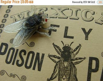 ON SALE Vintage 1960s Creepy Realistic Black Flys for assemblage, altered art or Halloween