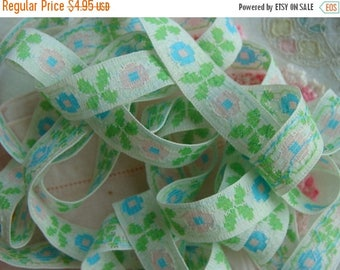ONSALE Vintage Soft Pink and Blue Sweet Lace Trim 1960s Yardage