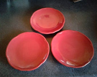"Tracy Porter Octavia Hill Dinner Plates Lot of 5 Dark Red 11"" Excellent Condition Free Ship in US"