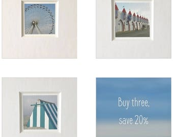 Colorful Beach Photography Set of Three Prints, Gallery Wall Set of Three Beach Prints, Boardwalk Photography Custom Set of Three Ocean City