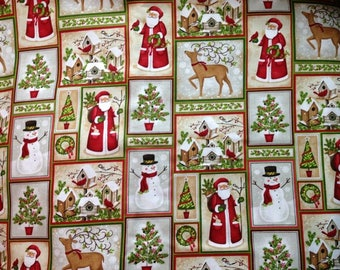 Father Christmas & Snowmen Patch Cotton Fabric by the yard