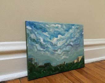 Blue Sky Canvas Painting Vintage Painting Folk Art Home Decor