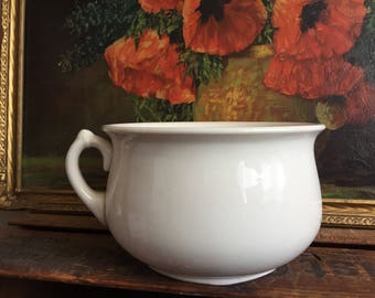 Chamber Pot Planter White Ceramic Distressed Vintage Homer Laughlin Bowl Handle