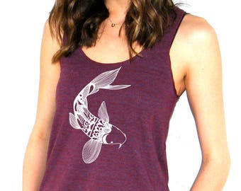 Womens Koi Tank Top - American Apparel Racerback  - XS, Small, Medium, Large