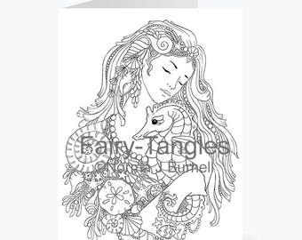 Printable Fairy Tangles Greeting Cards to Color by Norma J Burnell 5x7 Mermaid & Seahorse Card for Card Making and Adult Coloring