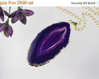ON SALE Purple Agate Pendant, Agate Necklace,Crystal Agate Slice, Agate Slice, Gold Plated Agate, APS208