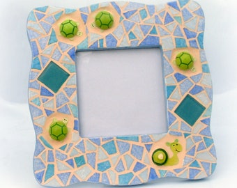 Snail mosaic picture frame and turtles