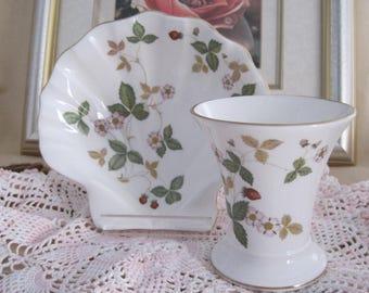 """WEDGWOOD -  Vase and Shell-shaped Soap dish- """"Wild Strawberry"""""""