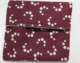MamaBear Tuckables Pouch, Small (4 x 4) - Cloth Menstrual Pads, Wipes, Snacks, & more - Polka Crescent