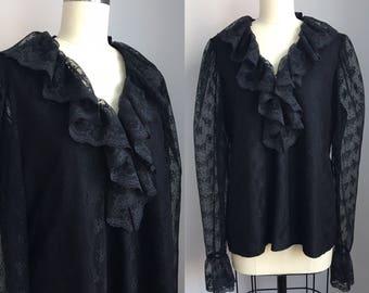 Vintage 1970s Jet Black Ruffled Lace Puff Sleeve Blouse Size Medium