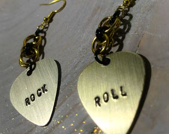 Helm Weave Chain Mail Handmade Rock and Roll Guitar Pick Metal Stamp Earrings