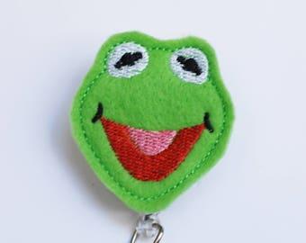 Kermit The Frog Feltie ID Badge Reel - Retractable ID Badge Holder - Zipperedheart